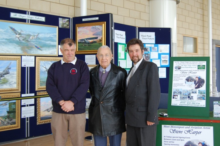 Left to Right Chairman of the Cosford Society Dave Leek,  D-Day Vetran  Arthur Jones and Right ,Artist Steve Harper