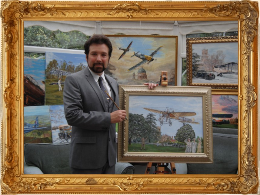 British Artist Steve Harper withpainting of  Bleriot and other aircraft