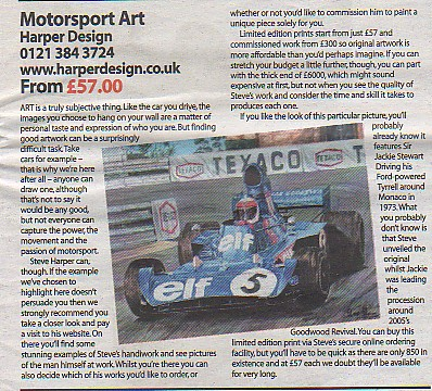 Article about the work of Steve Harper  by Classic car weekly