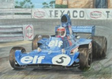 Painting of Sir Jackie Stewart in the Tyrel 005 by Artist Steve Harper