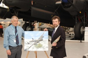 Dave Leek Left with this years painting to be used as print for the raffle with Right Artist Steve Harper
