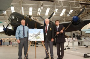 Left Chairman Dave Leek, Centre with the Painting ex Lincoln Crew Ted Littlewood with Right Artist Steve Harper