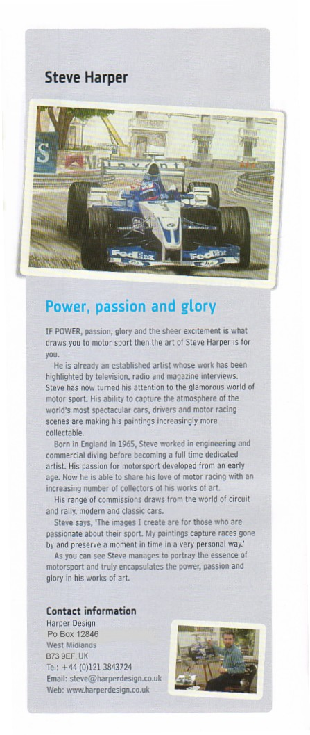 News Paper Article about the Unvailing of  the Jackie Stewart Painting by Steve Harper