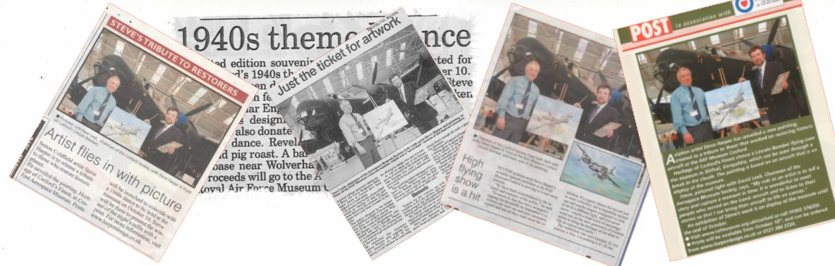 News Paper articles about Noted Artist Steve Harper  the Honorary Patron of Shuttleworth
